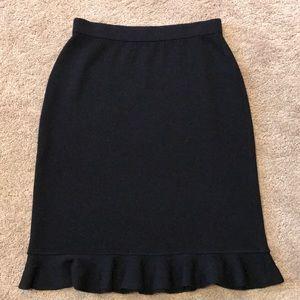 St John Black Ruffle Hem skirt, size 4